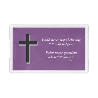 Da fé cruz do sólido da bandeja w/Black da vaidade
