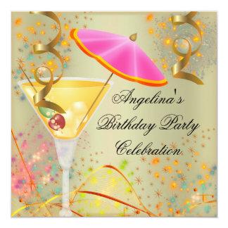 Da festa de aniversário cor-de-rosa do ouro do convite quadrado 13.35 x 13.35cm
