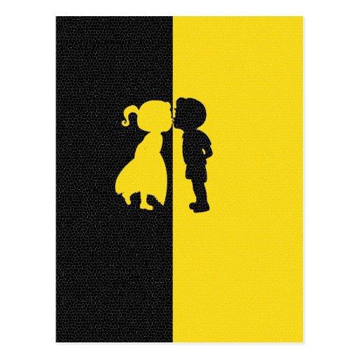 Da foto bonito do amor do beijo do casal design gr cartões postais