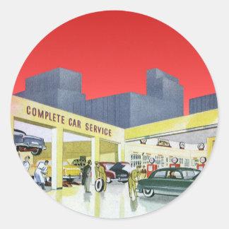 Da garagem completa do serviço do carro do vintage adesivos em formato redondos