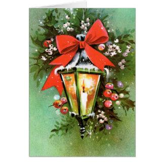 Da lâmpada retro do Natal do vintage cartão