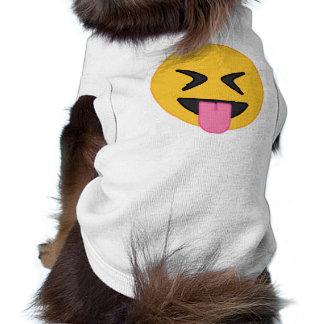Da língua camiseta de cão de Emoji para fora