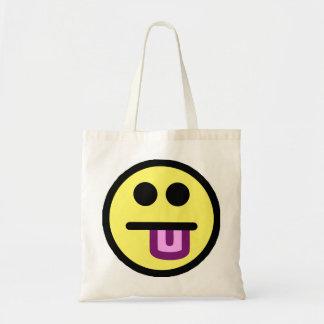 Da língua smiley face amarelo para fora sacola tote budget