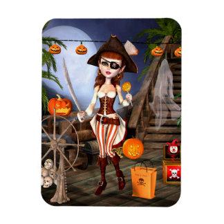 Da menina bonito do pirata do Dia das Bruxas ímãs