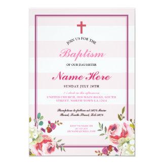 Da menina cor-de-rosa da listra do baptismo o convite 12.7 x 17.78cm