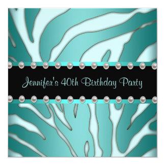Da mulher azul da zebra da cerceta elegante convites personalizado