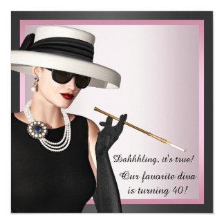 Da mulher favorita da diva do divertimento o convite quadrado 13.35 x 13.35cm