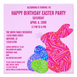 Da páscoa cor-de-rosa do coelho de Z a festa de Convite Quadrado 13.35 X 13.35cm