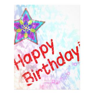 Da paz feliz da festa de aniversário da estrela de papeis de carta personalizados