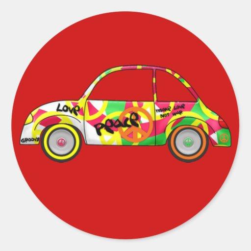 Da paz retro do amor da etiqueta carro retro dos adesivo em formato redondo