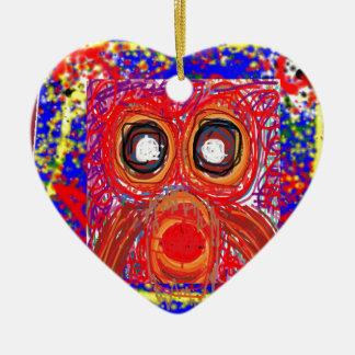 Da rapina artística do pássaro da CORUJA PRESENTES Ornamento De Cerâmica Coração