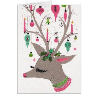 Da rena retro do Natal do vintage cartão