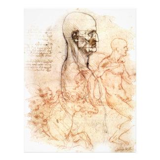 da Vinci -- Esboço do homem e do cavalo Papeis De Carta Personalizados