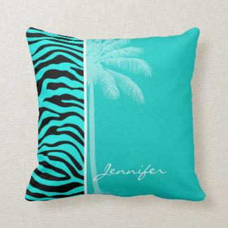 Da zebra brilhante de turquesa da palma do verão travesseiros de decoração