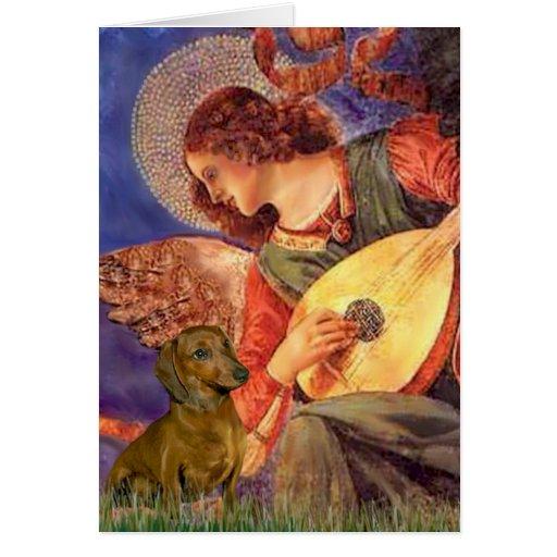 Dachshund (brown1) - anjo do bandolim cartões