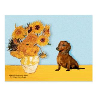 Dachshund brown1 - girassóis cartões postais