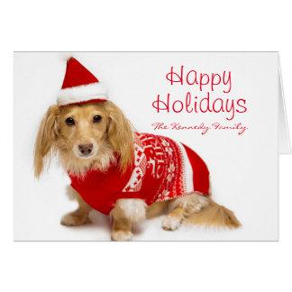 Dachshund de cabelos compridos que veste um Natal Cartão Comemorativo