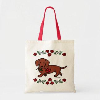 Dachshund e uns desenhos animados da flor bolsa de lona