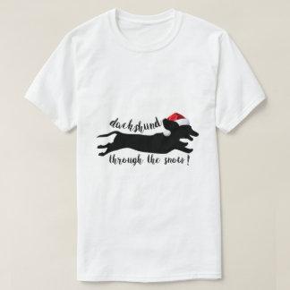 dachshund engraçado através da camisa do Natal t