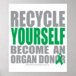 Dador de órgãos do reciclar você mesmo poster