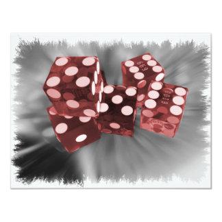 Dados vermelhos Las Vegas do rolo alto Convite 10.79 X 13.97cm