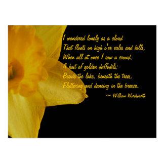 Daffodil amarelo; Cartão do poema de William