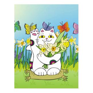 Daffodil Neko Cartão Postal
