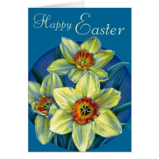 """Cartão Daffodils cartão amarelo e azul do """"felz pascoa"""""""