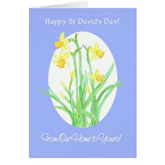 Daffodils do dia de St David, de nossa casa a seu Cartão Comemorativo