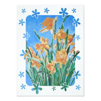 Daffodils dourados com beira da flor convites personalizado
