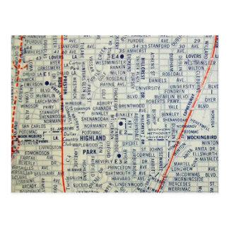 DALLAS, cartão do mapa do vintage de TX