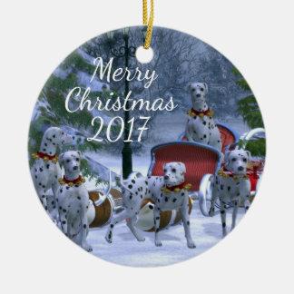 Dalmatians personalizados do Natal Ornamento De Cerâmica