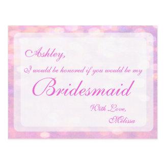 Dama de honra cor-de-rosa de Bokeh | Cartão Postal