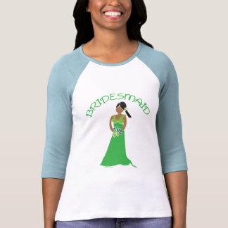 Dama de honra étnica na camisa verde da festa de c tshirts