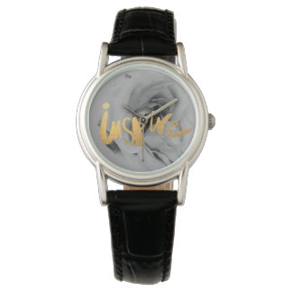 Damas relógio de pulso de couro relógio Inspire