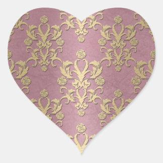 Damasco amarelo feminino do rosa e do ouro adesivo de coração