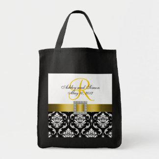 Damasco amarelo, preto sacola Wedding personalizad Bolsas De Lona
