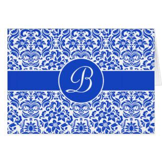 Damasco azul & branco cartão personalizado com