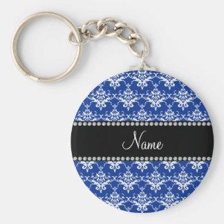 Damasco azul e branco conhecido personalizado chaveiros