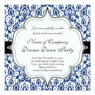 Damasco azul e branco de Casbah Convite Quadrado 13.35 X 13.35cm
