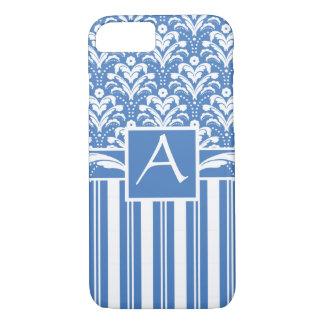 Damasco azul e branco do art deco fresco e capa iPhone 7