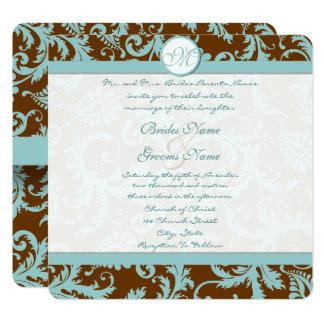 Damasco azul no convite do casamento de Brown