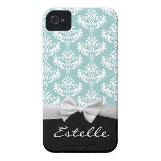 Damasco azul personalizado com fita branca capas para iPhone 4 Case-Mate