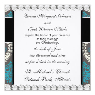 damasco bonito do marrom do ecru do creme do azul convite personalizado