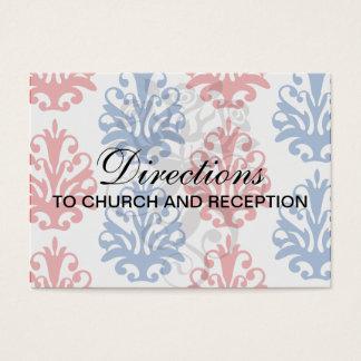 damasco branco e azul vermelho americano cartão de visitas