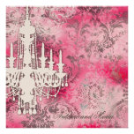 Damasco cinzento Champagne M do rosa do candelabro Convite