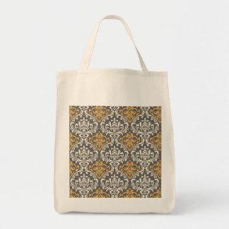 damasco cinzento e amarelo do vintage moderno bolsa