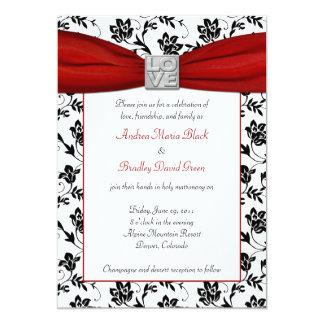 Damasco & convite vermelho da fita do cetim