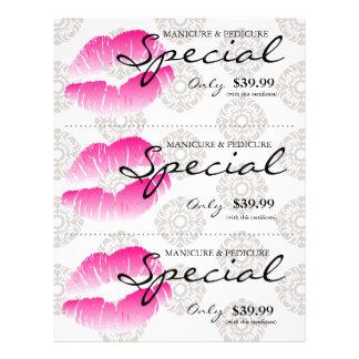Damasco cor-de-rosa dos lábios dos termas do flyer 21.59 x 27.94cm