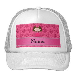 Damasco cor-de-rosa personalizado da princesa boné